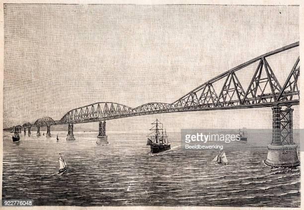 World expo 1889 futuristic design for channel bridge over Strait Of Dover