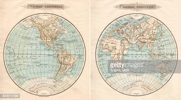 World in hemispheres 1881