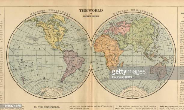 world in hemispheres antique victorian engraved colored map, 1899 - archival stock illustrations