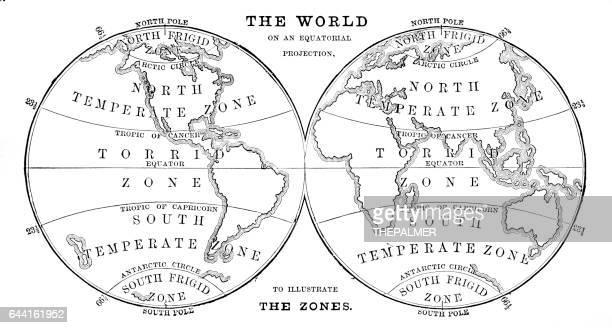 World in zones hemispheres 1881