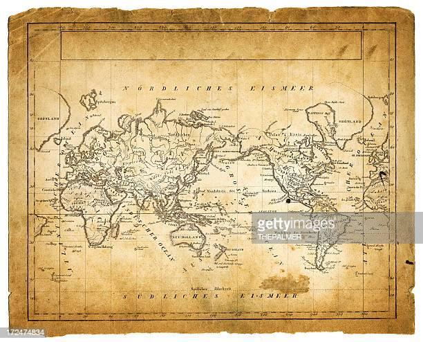 world map 1822 - pacific ocean stock illustrations, clip art, cartoons, & icons