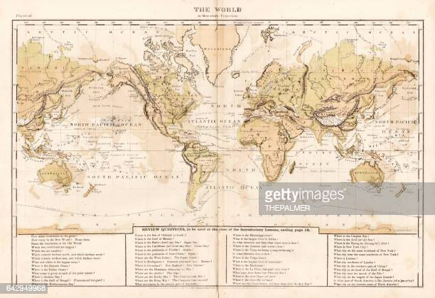 world map 1867 - pacific ocean stock illustrations, clip art, cartoons, & icons