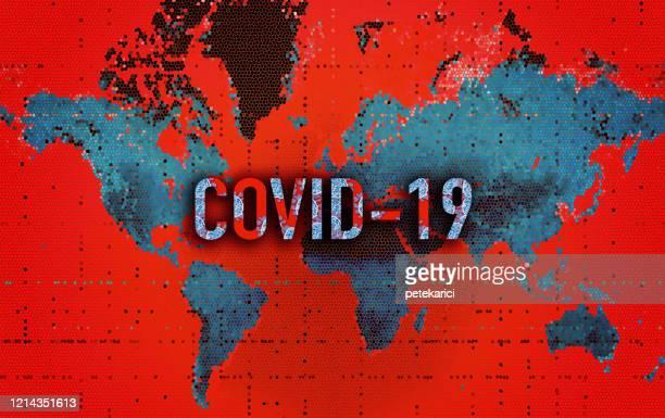 world map- coronavirus (covid-19) - state of emergency stock illustrations