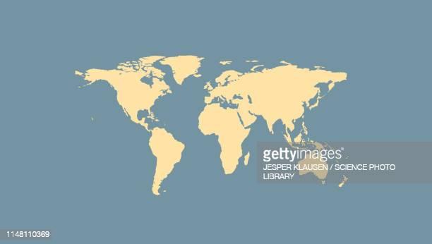 illustrazioni stock, clip art, cartoni animati e icone di tendenza di world map, illustration - planisfero