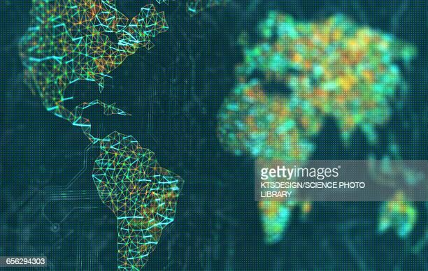 world map, illustration - latin america stock illustrations
