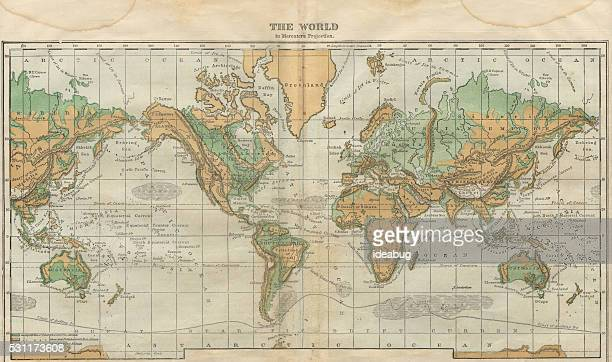 world map illustration, travel, exploration, antique 1871 illustration - country geographic area stock illustrations, clip art, cartoons, & icons