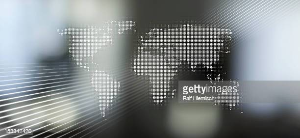 World map in dots against an abstract background