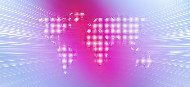 World Map In Dots Against An Abstract Background Wall Art