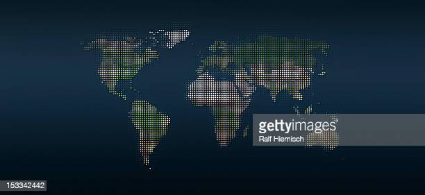 world map in dots against an abstract background - spotted stock illustrations