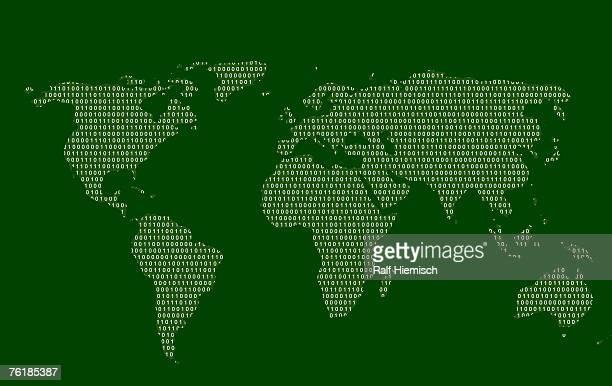 A world map made in binary code