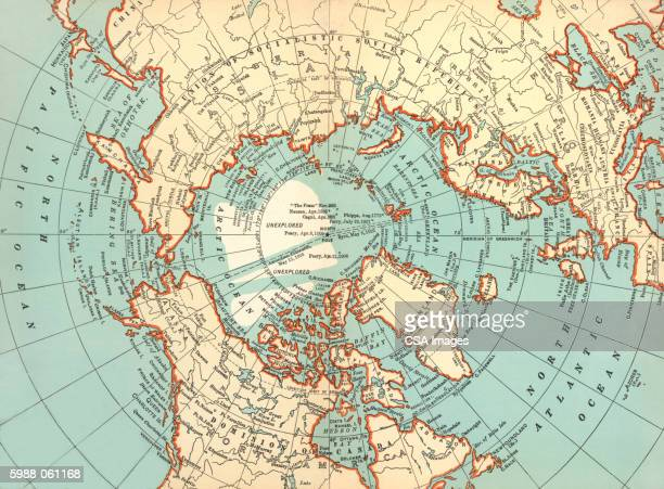 ilustraciones, imágenes clip art, dibujos animados e iconos de stock de world map, north pole - polo norte