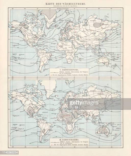 世界地図1892からの熱の両極端、リトグラフ、1898 - 熱映像点のイラスト素材/クリップアート素材/マンガ素材/アイコン素材
