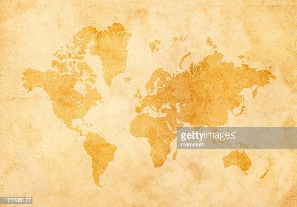 Mapa do Mundo de papel antigo