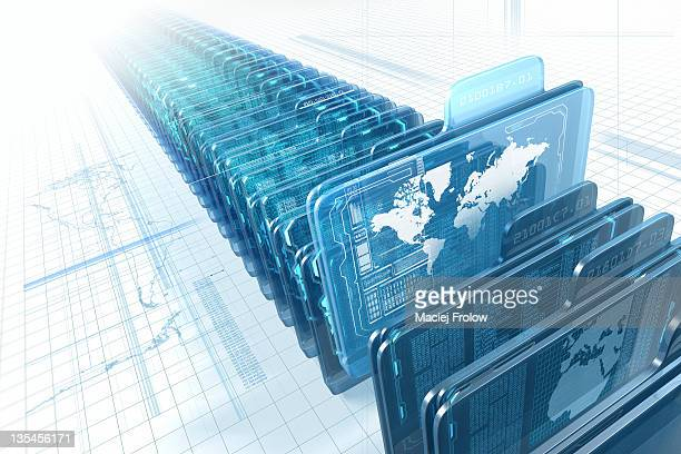 world map on transparent virtual folder - corporate business stock illustrations