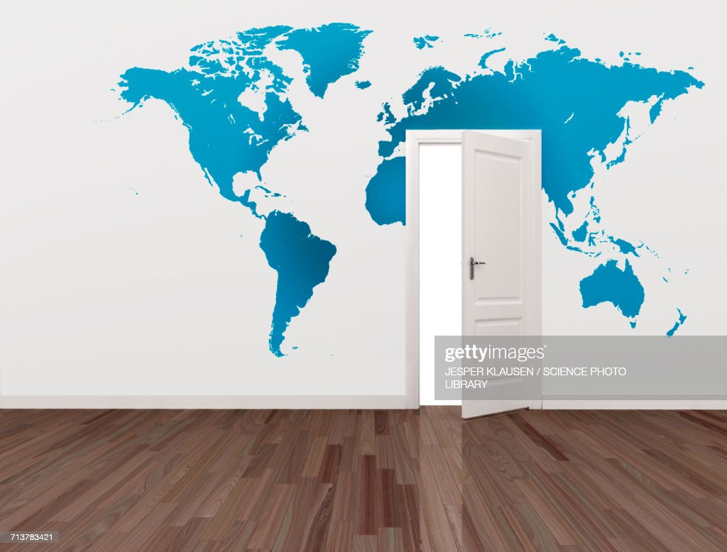 World map on wall with open door stock illustration getty images world map on wall with open door stock illustration gumiabroncs Image collections