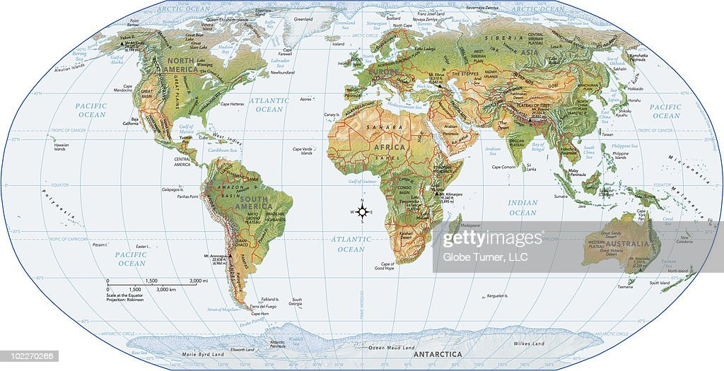 World map physical vector art getty images world map physical vector art gumiabroncs Gallery