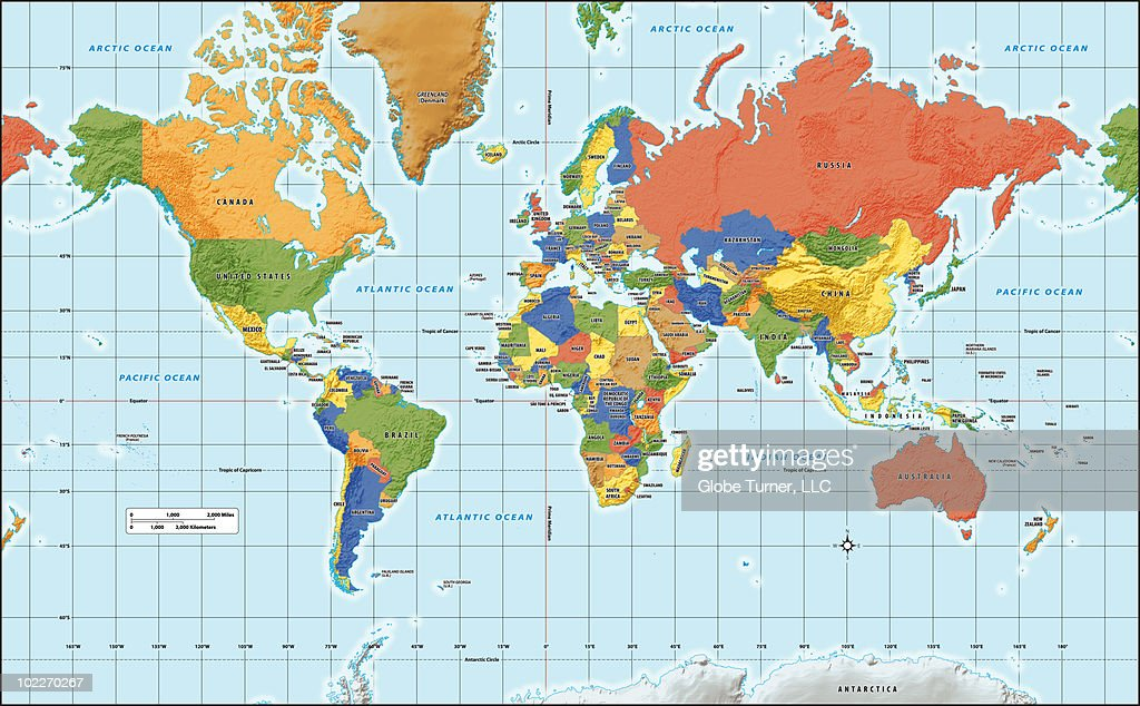 World Map With Country Labels.World Map Physical With Country Labels Stock Illustration Getty Images