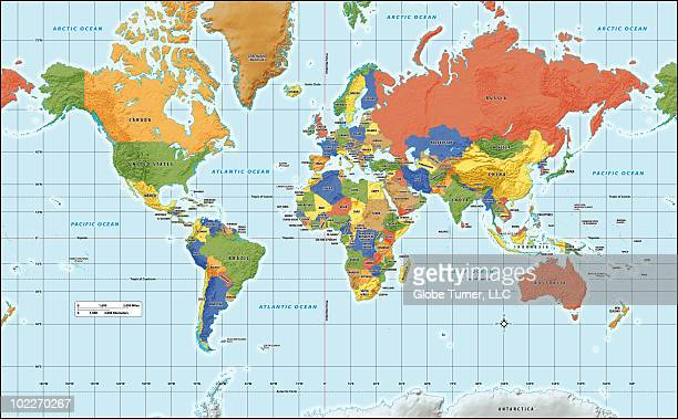 World map, physical with country labels