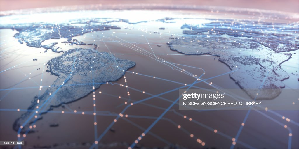 World map showing connections, illustration : stock illustration