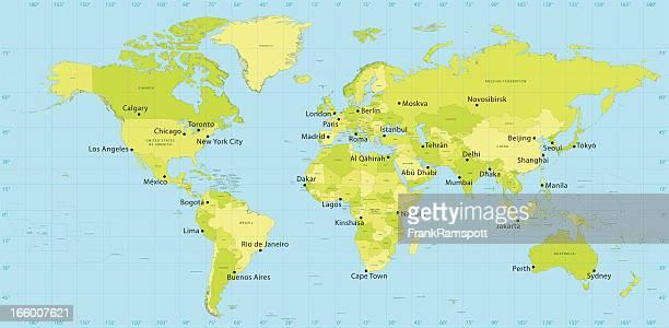 world map vector countries - latitude stock illustrations