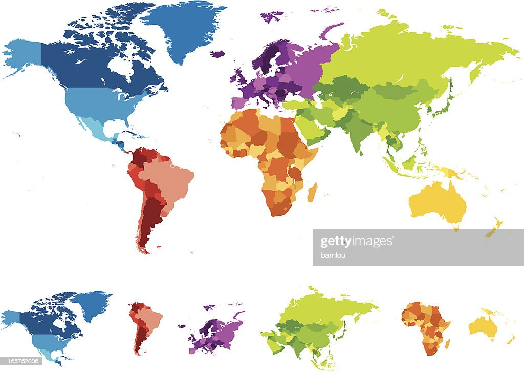World map with different colored continents vector art getty images world map with different colored continents vector art gumiabroncs Choice Image