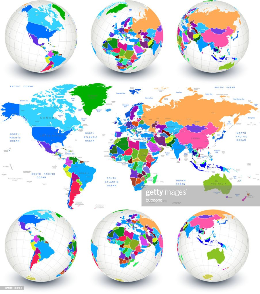 World Map With Globes And Country Outlines Vector Art Getty Images - Country outlines