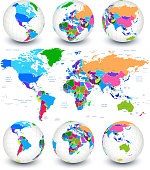 World map with globes and country outlines