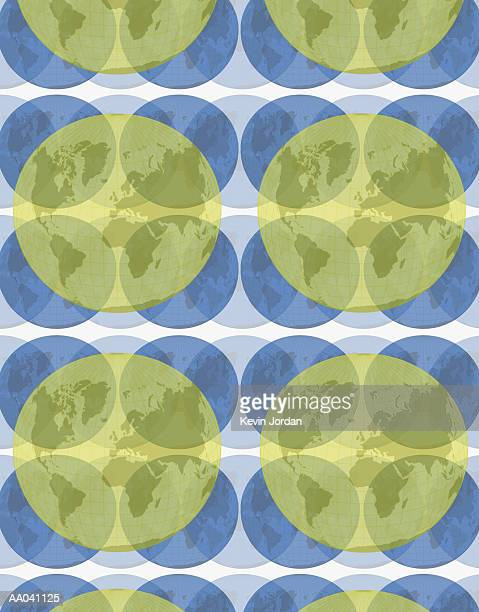 world maps on large group of circles - medium group of objects stock illustrations, clip art, cartoons, & icons