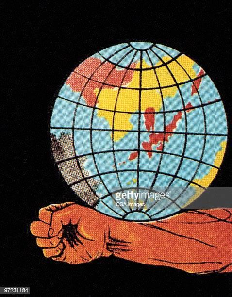 illustrations, cliparts, dessins animés et icônes de world on arm - hémisphère