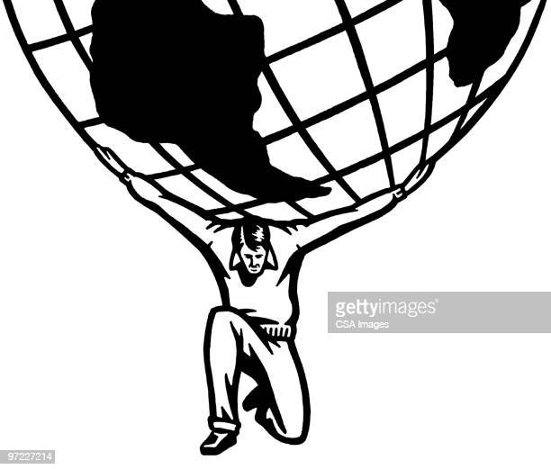 world on shoulders - mythological character stock illustrations, clip art, cartoons, & icons