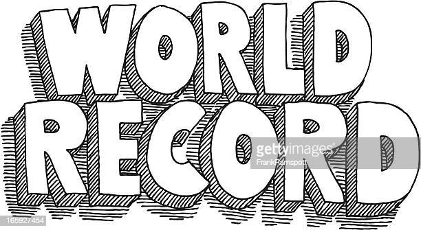 world record lettering drawing - world record stock illustrations