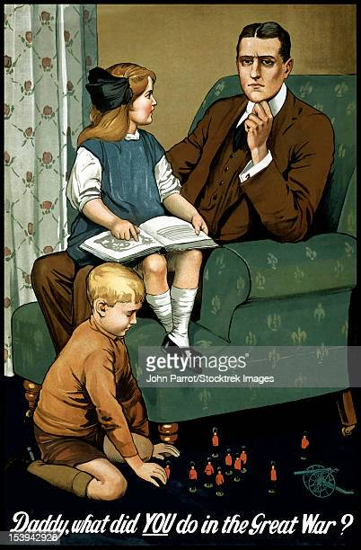 ilustraciones, imágenes clip art, dibujos animados e iconos de stock de world war i poster of a little girl sitting on her father's lap and a boy playing with toys. - primera guerra mundial