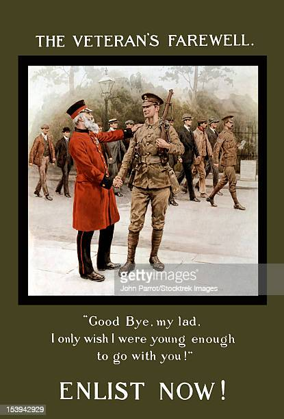 World War I poster of an old gray haired veteran bidding farewell to a young soldier.