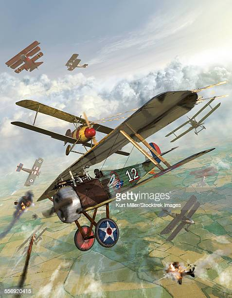 World War I U.S. bi-plane attacking German bi-planes.