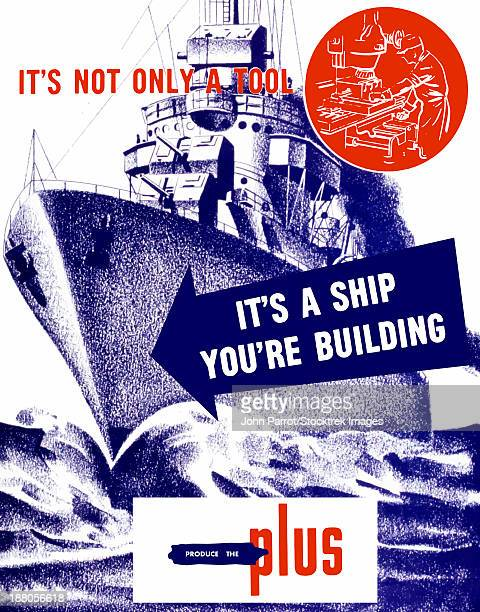 world war ii propaganda poster featuring a battleship out a sea. - us navy stock illustrations