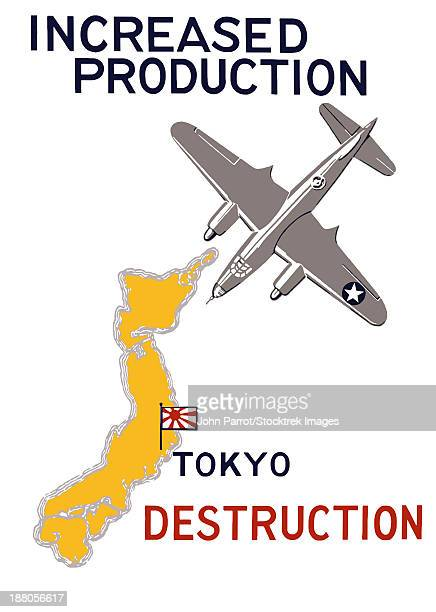 world war ii propaganda poster featuring a bomber flying over japan. - us air force stock illustrations, clip art, cartoons, & icons