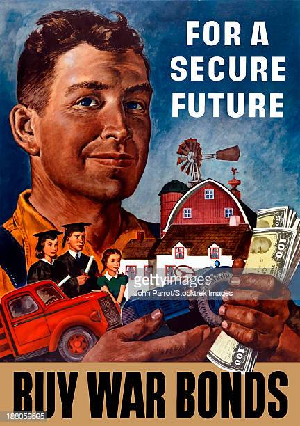 World War II propaganda poster of a farmer holding his future.