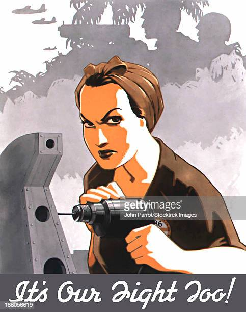 World War II propaganda poster of Rosie the Riveter operating a drill.