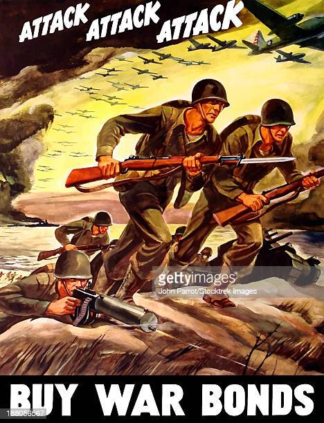 ilustraciones, imágenes clip art, dibujos animados e iconos de stock de world war ii propaganda poster of soldiers assaulting a beach with rifles. - casco militar
