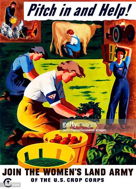 ilustrações de stock, clip art, desenhos animados e ícones de world war ii propaganda poster of women doing chores on a farm. - segunda guerra mundial