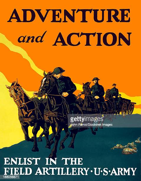 World War One propaganda poster of soldiers pulling artillery with horses.