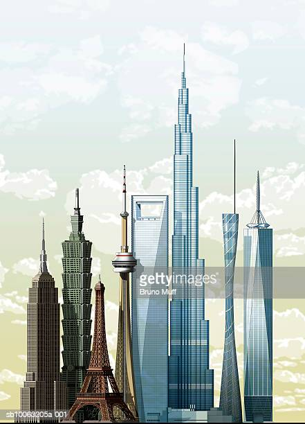 world's eight most famous buildings - taiwan stock illustrations