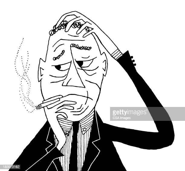 worried man smoking - overworked stock illustrations