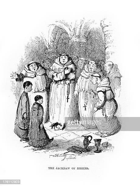 worried monks - religious dress stock illustrations, clip art, cartoons, & icons