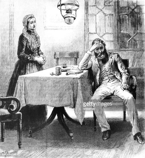 worried victorian man sitting at a table - bad posture stock illustrations, clip art, cartoons, & icons