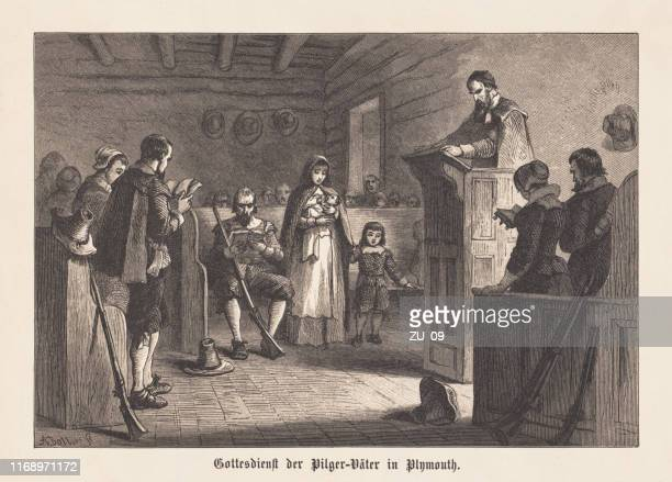worship of the pilgrim fathers in plymouth colony in 1620 - protestantism stock illustrations
