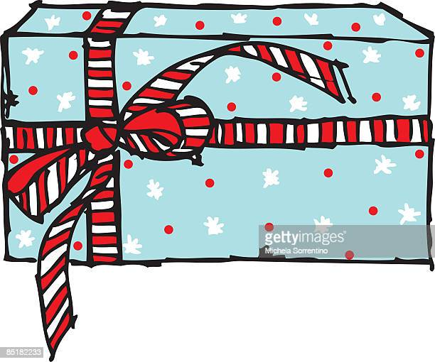 a wrapped present with a striped ribbon bow - number of people stock illustrations, clip art, cartoons, & icons