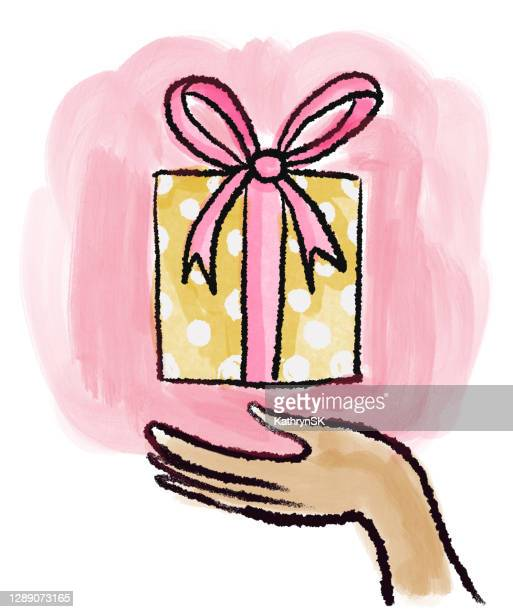 wrapped present with hand drawing - kathrynsk stock illustrations