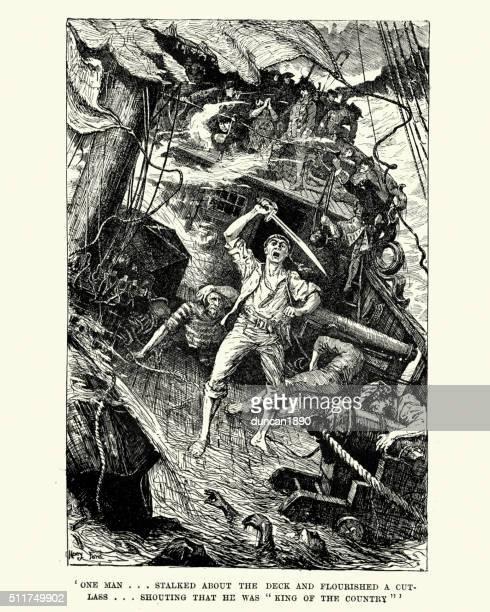 wreak of hms wager flourished a cutlass - pirate criminal stock illustrations