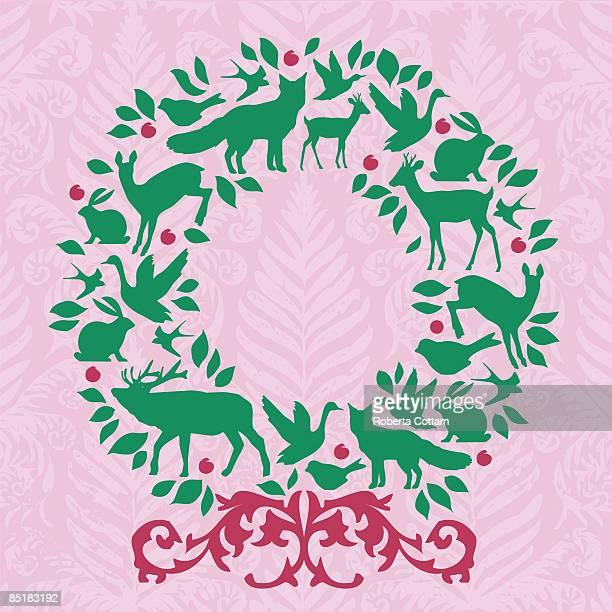 ilustraciones, imágenes clip art, dibujos animados e iconos de stock de a wreath shaped by silhouettes of animals - grupo grande de animales